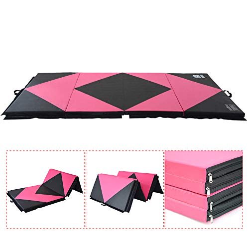Modern-depo Gymnastics Mat 4 Panels Folding 4'X10'X2 with Handle, Hook Loop, Waterproof Cover, 100% Epe Core(Pink and Black