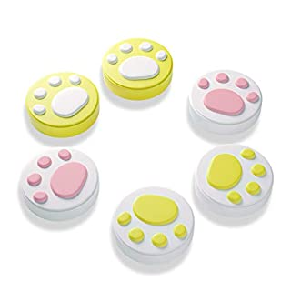 Cat Claw Design Thumb Grip Caps, Joystick Cap for Nintendo Switch & Lite, Soft Silicone Cover for Joy-Con Controller - Yellow (6PCS)