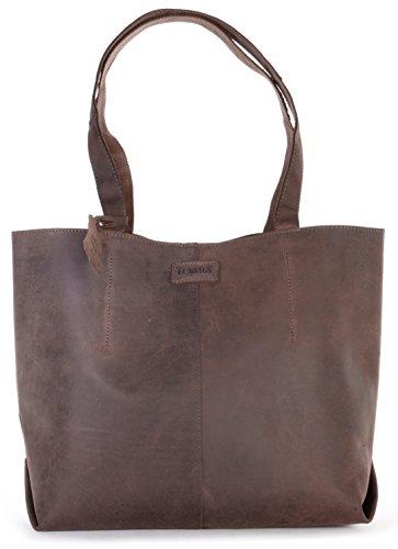 LEABAGS Honolulu genuine buffalo leather shopper bag in vintage style   Nutmeg