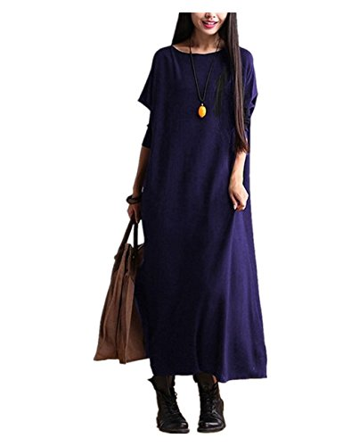 YESNO AC6 Women Long Maxi Dress Flowy Casual Loose Fit Crew Neck Long Sleeve 100% Cotton (L, AC6R Black) (Dress Long Silk)