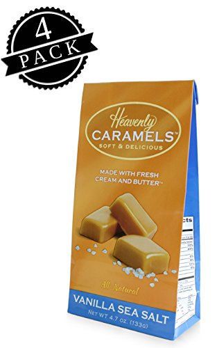 - J Morgan Confections Heavenly Caramels, Vanilla Sea Salt Flavor (4.7 oz bag, 4-Pack); Gourmet, Artisan Soft and Chewy Butter Caramel Candies, Creamy and Smooth, Hand-Crafted Golden Treats