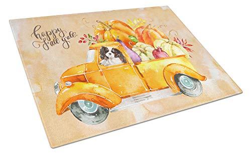 Caroline's Treasures CK2652LCB Fall Harvest Tricolor Cavalier Spaniel Glass cutting-boards Large Multicolor