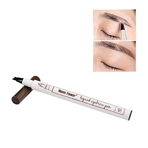 Waterproof Eye Brow Eyeliner Eyebrow Pen Pencil With Brush Makeup Cosmetic Tool WensLTD (Brown)