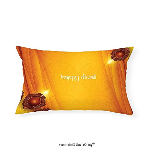 VROSELV Custom pillowcasesDiwali Like Tribal Inspired Backdrop with Wooden Oriental Style Carving Framework Print for Bedroom Living Room Dorm Yellow(16''x24'') by VROSELV