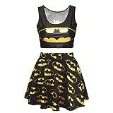 Lyck Women's 3D Batman Graphic Print Crop Tank Top and Mini Flared Skater Skirts Set for Teen Girls Black