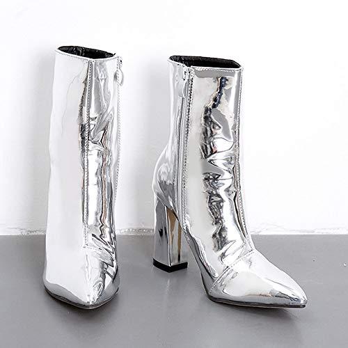 Cuoio Donna Argento Beautyjourney Martin Tacco Con Stivali Zeppa Pelle Scarpe Stivaletti Invernali Stivale Boots Eleganti 5A5qgxY6