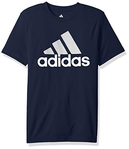 adidas Boys Big Short Sleeve Logo Tee Shirt, Navy, S (8/10)