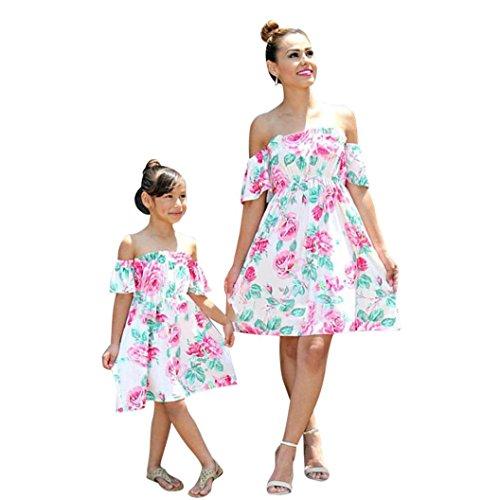 Sunbona Mom&Me Toddler Baby Girls Matching Off Shoulder
