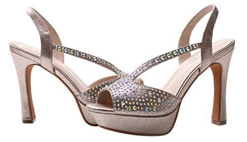Summer New Style Drill Decorated Vamp Peep-toe Platform Thin High Heel Shoes For Women(5.5 B(W) US, golden)