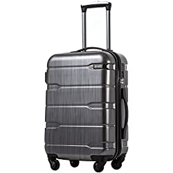 "COOLIFE Luggage Expandable(only 28"") Suitcase PC+ABS Spinner Built-in TSA Lock 20in 24in 28in Carry on (Charcoal, S(20in_Carry on))"