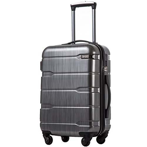 COOLIFE Luggage Expandable(only 28') Suitcase PC+ABS Spinner Built-in TSA Lock 20in 24in 28in Carry on (Charcoal, S(20in_Carry on))