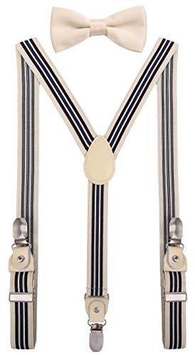 - YJDS Kids Leather Suspenders and Bowtie Set Strong Clips Ivory Stripe 39''