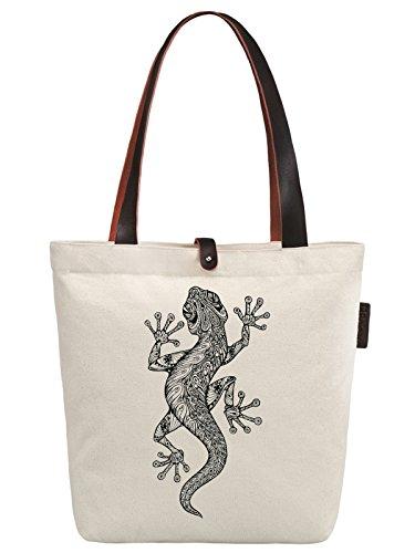 So'each Women's Lizard Geometric Pattern Canvas Handbag Tote Shoulder Bag