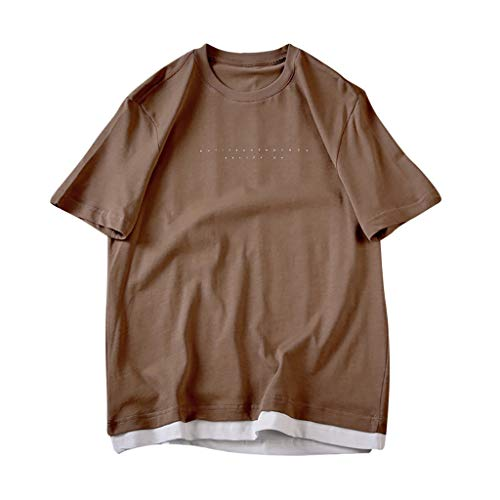 Men T-Shirts,Classic Basic Short Sleeve Loose-Fit Short-Sleeve Crewneck Shirt Blouse (3XL, Coffee)