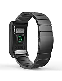 Garmin Vivoactive HR Watch Band, MoKo Universal Stainless Steel Adjustbale Watch Band Strap Bracelet with Adapter Tools ONLY for Garmin Vivoactive HR Sports GPS Smart Watch, Black