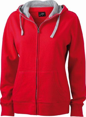 James & Nicholson JN962 Ladies Lifestyle Full Zip Hoodie Sweat Jacket Red/Grey-heather