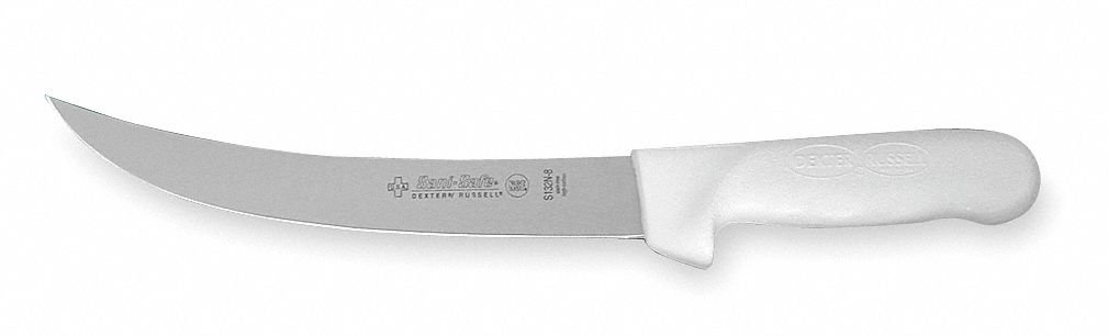 Dexter Russell Sani-Safe (05523) Breaking Knife, 8'', narrow, stain-free, high-carbon steel blade, non-slip, textured, white, polypropylene handle, NSF Certified, S132N-8