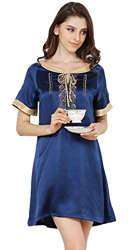 Mujer Sleepwear Cómodo Manga Cortos Redondo Ropa Vintage Camisón Corta Elegantes Cuello Verano De Moda Dormir Bordados Camisones Vestido Suave Silk Navyblau rxYrBHAq