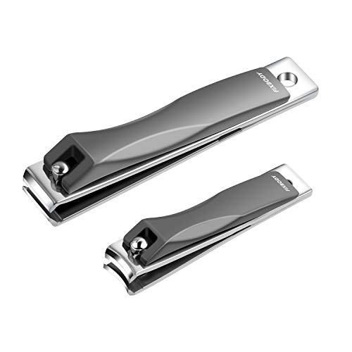 FIXBODY Nail Clipper Set - Stainless Steel Fingernails & Toenails Clipper Cutter with Leather Case, Set of 2 (Straight & Curved)
