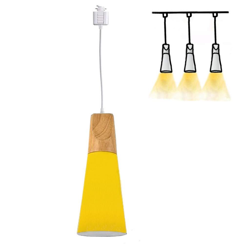 H-Type Track Mount Light Modern Wood Pendant Lights Kitchen Lighting Scandinavian Light Fixture Home Lighting,1-Light(Yellow)
