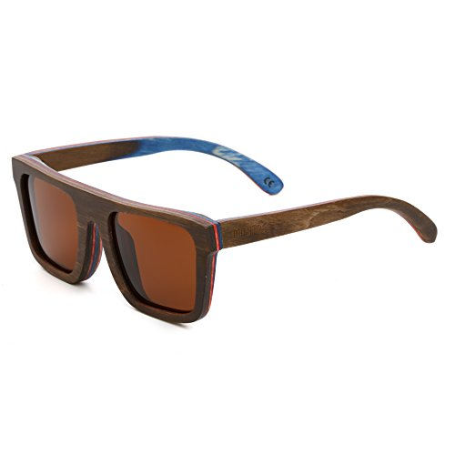 Mini Tree Men Women Skateboard Wood Polarized Sunglasses Wayfarer Style Glasses SW150 (Coffee, - For Face Sunglasses Shape Square Female