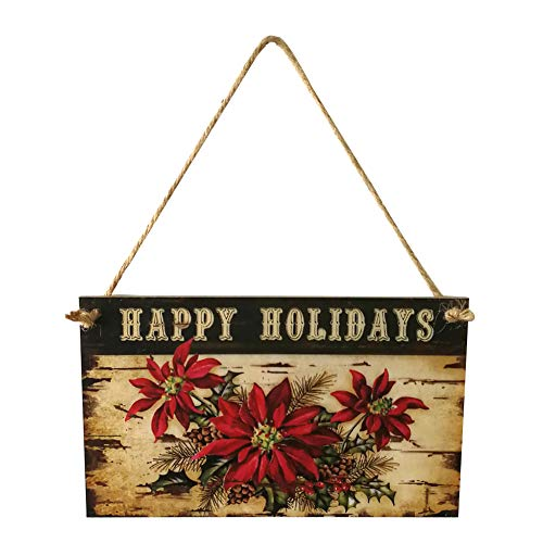 Softmusic Happy Holiday Vintage Poinsettia Printed,Wooden Hanging Plaque Xmas Party Home Decor,Wall Door Hanging
