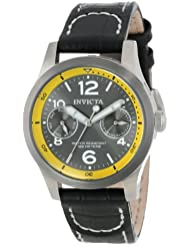 Invicta Womens 14143 I-Force Charcoal Dial Black Leather Watch