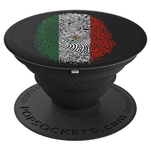 Proud Mexico Thumbprint DNA Mexican Flag Men Women PopSockets Grip and Stand for Phones and Tablets