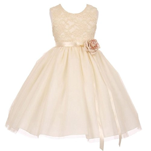 (iGirlDress Little Girls Two Tone Lace Satin Ribbons Corsage Flower Girl Dress Champagne 10)