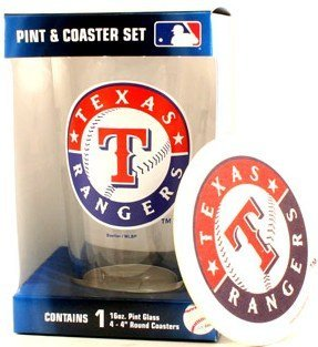 Texas Rangers MLB 16 Oz. Pint Glass & 4 Piece Coaster - Piece Four Glass Coaster