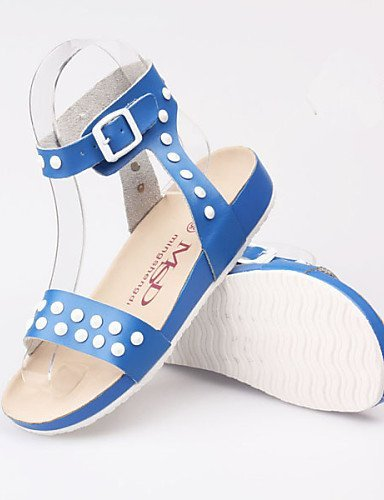ShangYi Womens Shoes Leather Flat Heel Gladiator Sandals Outdoor / Casual Blue / Yellow / White White
