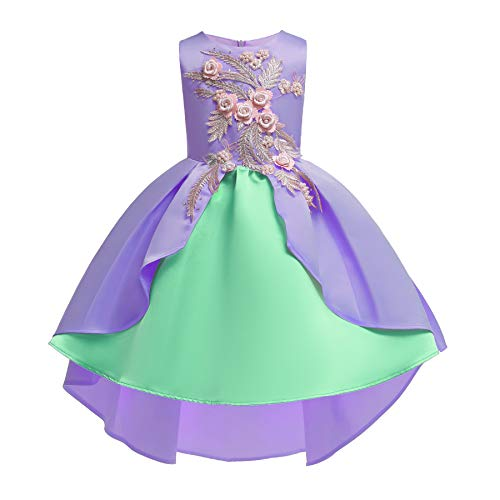 AIMJCHLD Hi-Low Sleeveless Flower Girl Dresses Summer Wedding Party Dress Pageant Gowns Christmas Easter Halloween Birthday Holiday Sundress Size 5 6 Years (Purple Green 130)]()