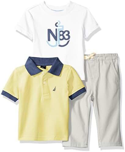 Nautica Baby Boys' Short Sleeve Polo and Tee Three Piece Set