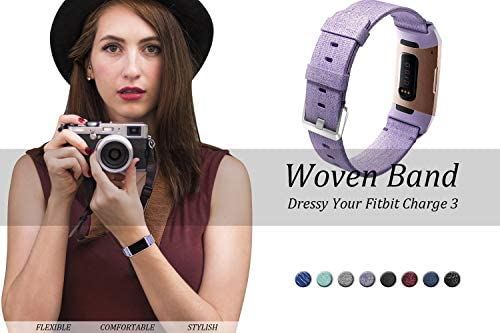hooroor Canvas Woven Band Compatible for Fitbit Charge 4 / Charge 3 Bands and Charge 3 SE Band, Soft Breathable Fabric Cloth Replacement Wristbands Sports Accessories Small Large for Women Men 5