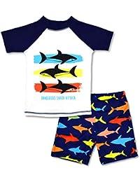 Boys Two Piece Rash Guard Swimsuits Kids Short Sleeve Sunsuit Swimwear Sets 7T