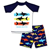 Boys Two Piece Rash Guard Swimsuits Kids Short Sleeve Sunsuit Swimwear Sets 9T