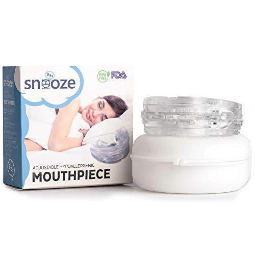 Snooze Adjustable Anti Snoring Mouthpiece | Mandibular Advancement Snore Stopper | Helpful eBook Included