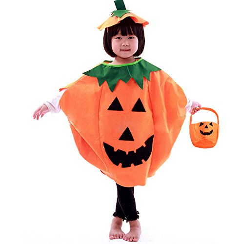Simple Girl Costumes (Halloween Orange Pumpkin Costume Suit Party Clothing Clothes for Children Kids)