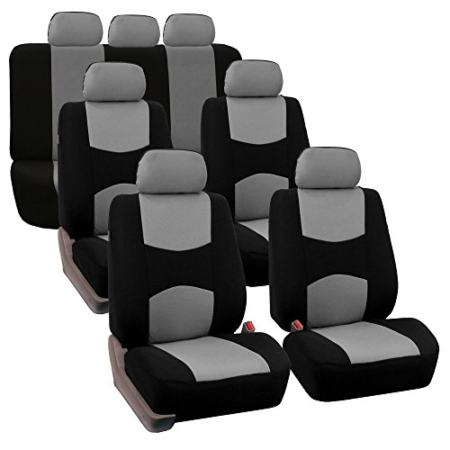FH GROUP FH-FB050217 Three Row Set Flat Cloth Car Seat Covers (4 Bucket Covers, 1 Solid Bench Cover), Gray / Black - Fit Most Car, Truck, Suv, or ()