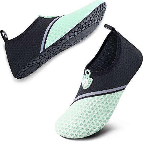 SIMARI Anti Slip Water Shoes for Women Men Summer Outdoor Beach Swim Surf Pool SWS002-516 Black Green 8.5-9 (Best Swimming Pool Shoes)
