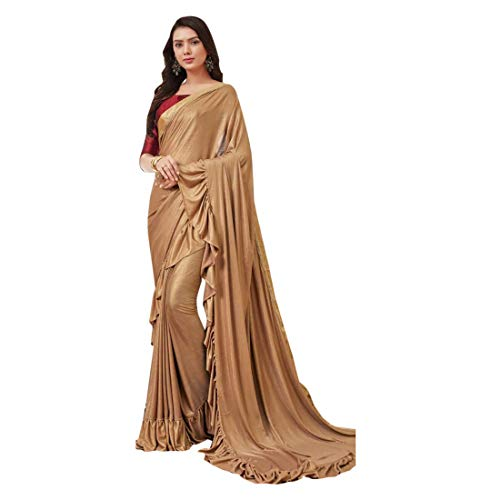 Copper Frilled Saree Gown Style Saree Ready to Wear Muslim Bridal Christian Lycra Wedding Pakistani Dress Suit Sari Blouse Eid ()