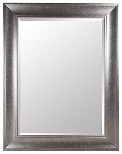 Gallery Solutions Large 39X49 Beveled Mirror with 5 Inch Frame In Brushed Nickel
