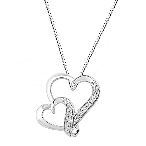 Diamond Heart Necklace in Rhodium Plated Sterling Silver 1/10 cttw - Pendants Classic Diamond Heart Necklaces