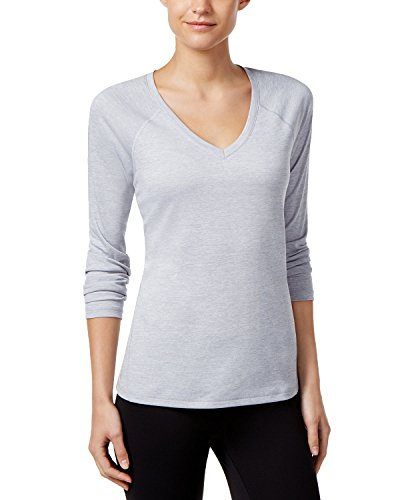Ideology Women's Heathered Rapidry Long-Sleeve Performance Top, White (Small)