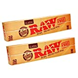Raw Classic Natural Unrefined King Size PreRolled Rolling Paper Cones 32 Per Box (2 Pack)