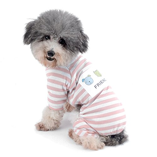 Stripes Pajamas Cozy Outfits Doggie Sweatshirt Yorkie Clothes Autumn Winter Pet Jumpsuit Pink S (Cozy Dog Pajamas)