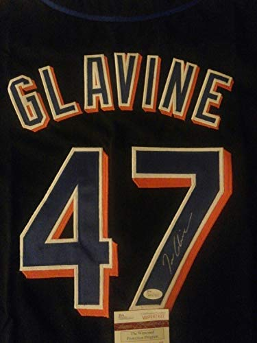 (Hof Tom Glavine Autographed Signed Mets Jersey.JSA Certificate Of Authenticity And Sticker)