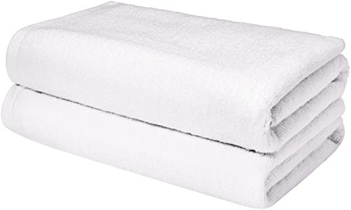 - AmazonBasics Quick-Dry Towels, Bath Sheet, White