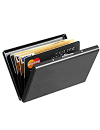 Maxgear RFID Blocking Stainless Steel Card Holder Case RFID Credit Card Holder Credit Card Case RFID Blocking Slim 6 PVC Slots Card Case Unisex Nano plating Black