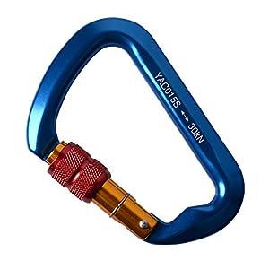AYAMAYA Climbing Carabiner Aluminum Screwgate Locking Carabiners, Ultra Tech High Strength 30KN Screwgate Caribiner Caribeaner D Ring Clip Hook Buckle for Ice Tree Mountain Rope Climbing